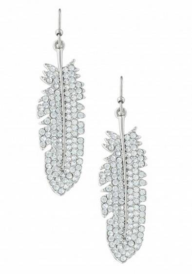Montana Silversmiths Glittered Feather Cubic Zirconia Earrings