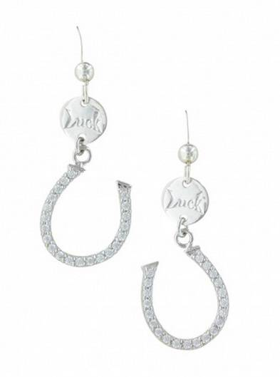 Montana Silversmiths Lucky Horseshoe Dangle Cubic Zirconia Earrings