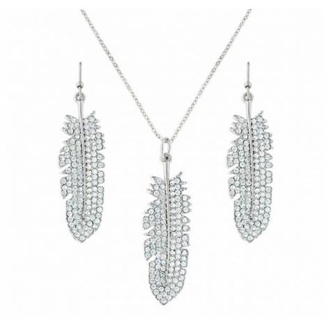Montana Silversmiths Glittered Feather Cubic Zirconia Jewelry Set