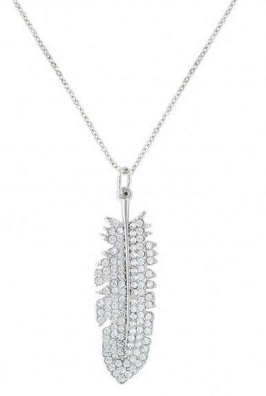 Montana Silversmiths Glittered Feather Cubic Zirconia Necklace