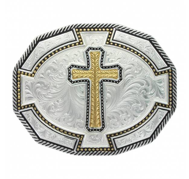 Montana Silversmiths Braided Edge Dodecagon Wheat Cross Two Tone Buckle