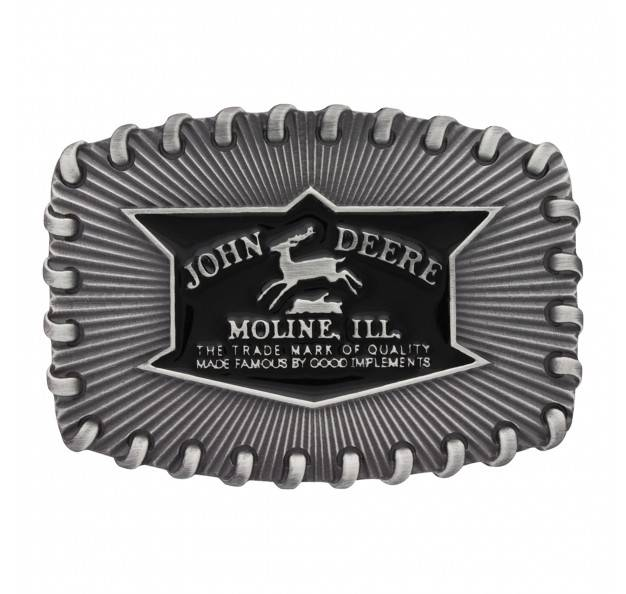 Montana Silversmiths Antique John Deere Whipped Stitch Edge Attitude Buckle
