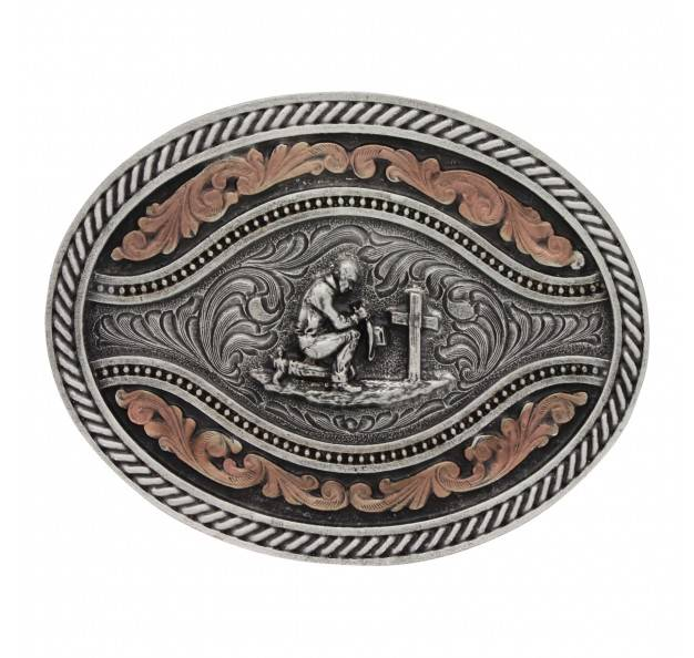 Montana Silversmiths Classic Two Tone Channel Oval Praying Cowboy Attitude Buckle