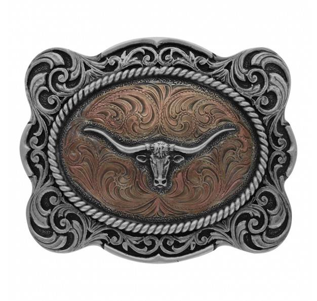 Montana Silversmiths Classic Impressions Two Tone Scalloped Cameo Longhorn Attitude Buckle