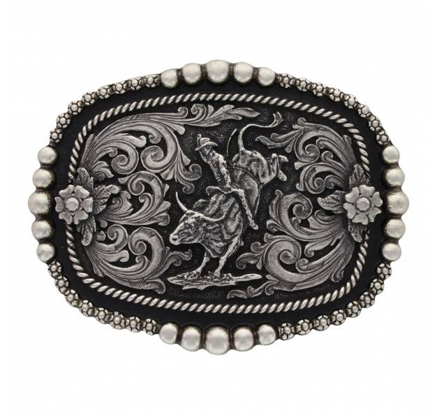 Montana Silversmiths Classic Beads And Berries Curved Bull Rider Attitude Buckle