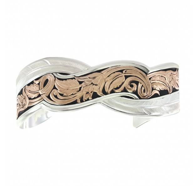 Montana Silversmiths Two Tone Sweeping Leather Cut Cuff Bracelet
