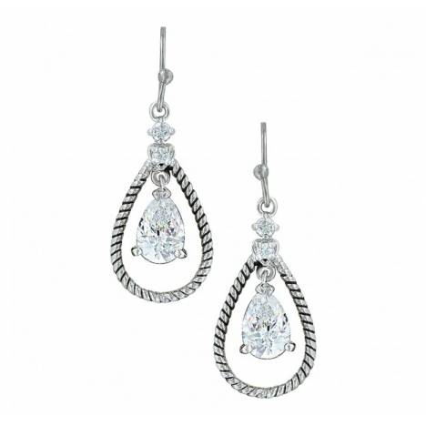 Montana Silversmiths Catch The Rain Cubic Zirconia Roped Earrings