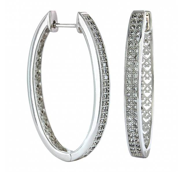 Montana Silversmiths Shining Rhinestone Oval Hoop Earrings