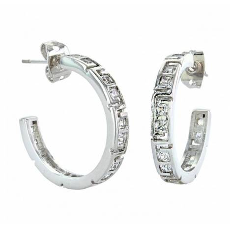Montana Silversmiths Dainty Aztec Rhinestone Silver Hoop Earrings