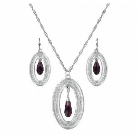 Montana Silversmiths Framed Evening Mist Open Oval Dangle Earrings Jewelry Set