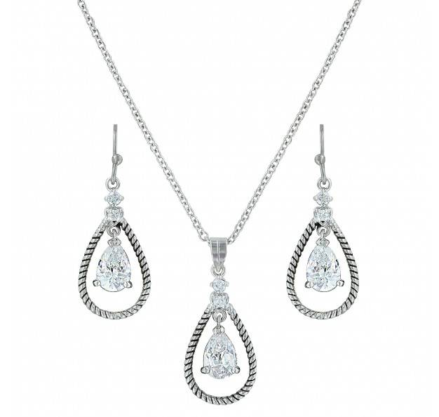 Montana Silversmiths Catch The Rain Cubic Zirconia Roped Jewelry Set