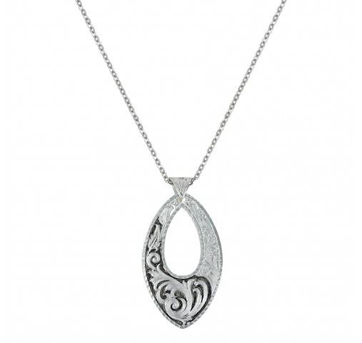 Montana Silversmiths Leather Cut Trailing Night Vines Open Filigree Necklace