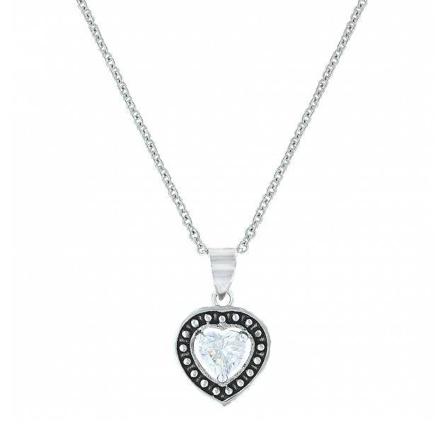 Montana Silversmiths Pin Point Framed Cubic Zirconia Heart Necklace