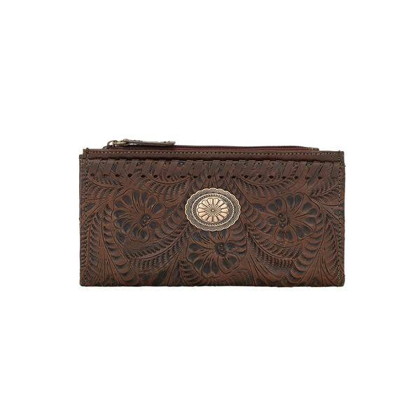 American West Foldover Leaf Tooled Oval Concho Wallet