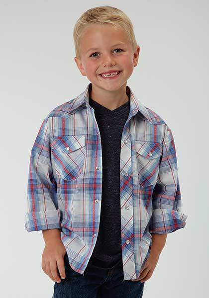 Roper Long Sleeve Dobby Snap Western Plaid Shirt - Boys - Blue White