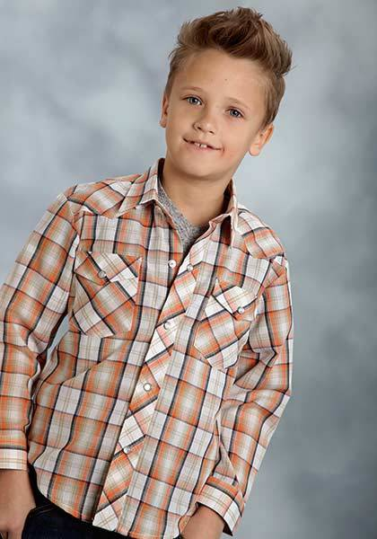 Roper Long Sleeve Snap Plaid Western Shirt - Boys - Orange Navy
