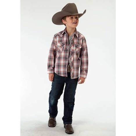 Roper Long Sleeve Snap Western Plaid Shirt - Boys - Terra Red
