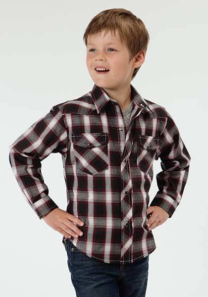 Roper Long Sleeve Western Plaid Shirt - Boys - Black Watch
