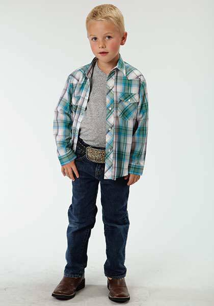 Roper Long Sleeve Western Plaid Snap Shirt - Boys - White Turquoise
