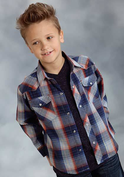 Roper Long Sleeve Woven Plaid With Lurex Western Shirt - Boys - Sky Blue Navy Gold