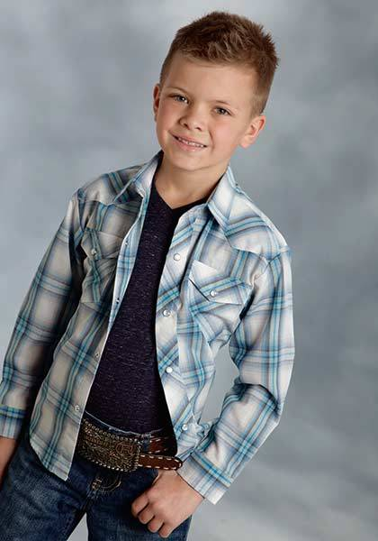 Roper Plaid Long Sleeve Western Shirt - Boys - Blue