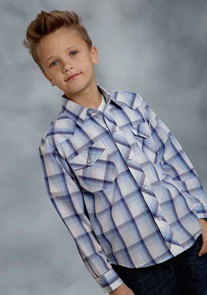 Roper Plaid Snap Long Sleeve Western Shirt - Boys - Blue White
