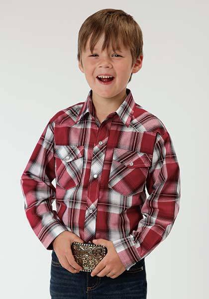 Roper Plaid Western Long Sleeve Woven Shirt - Boys - Red Black