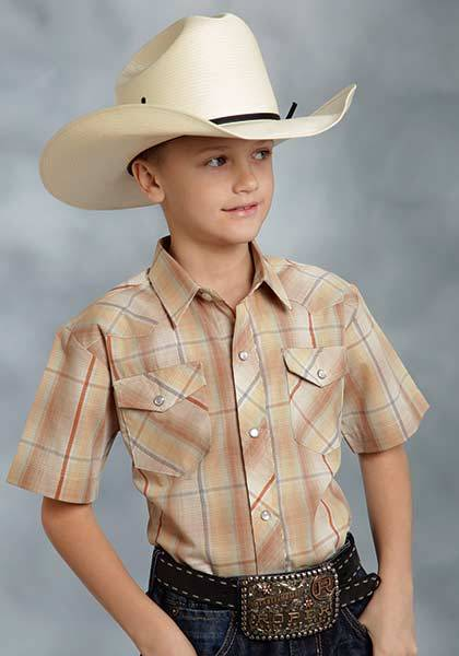 Roper Short Sleeve Plaid Lurex Western Shirt - Boys - Brown Gold