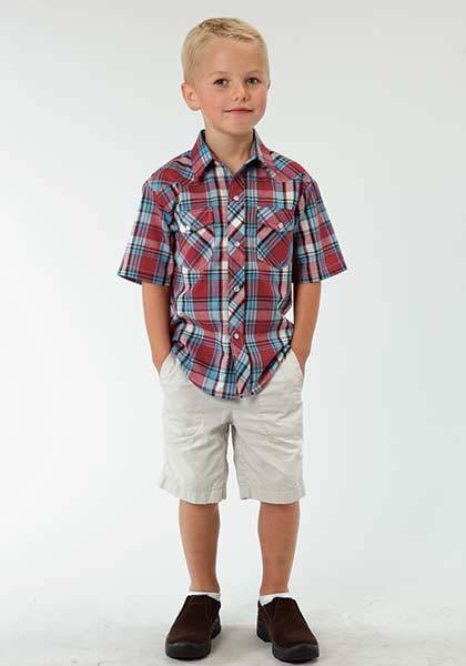 Roper Short Sleeve Western Snap Shirt - Boys - Red Blue