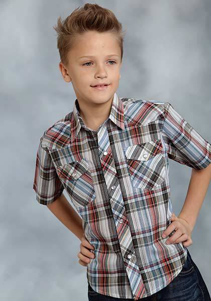 Roper Short Sleeve Woven Plaid Western Shirt - Boys - Brown Multi