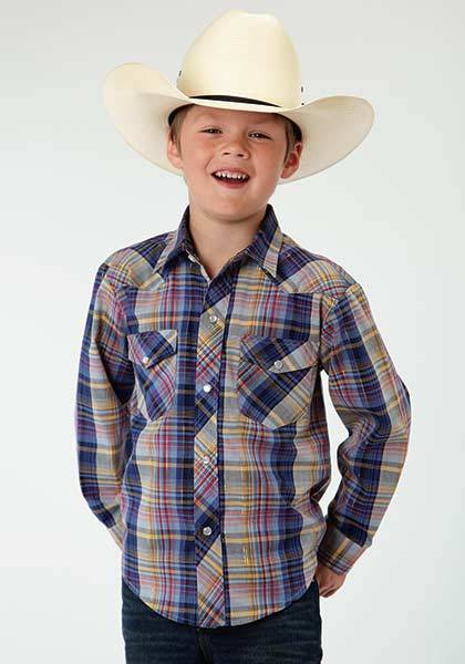 Roper Snap Plaid Long Sleeve Western Shirt - Boys - Blue Multi