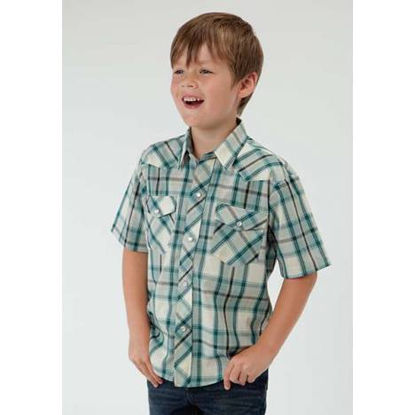 Roper Snap Woven Plaid Short Sleeve Western Shirt - Boys - Turquoise