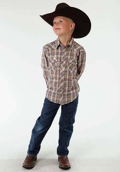 Roper Western Long Sleeve Plaid Shirt - Boys - Earth Brown