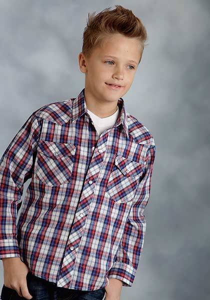 Roper Woven Plaid Snap Western Long Sleeve Shirt - Boys - Red Blue