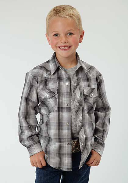 Roper Woven Tonal Plaid Long Sleeve Plaid Shirt - Boys - Black Grey