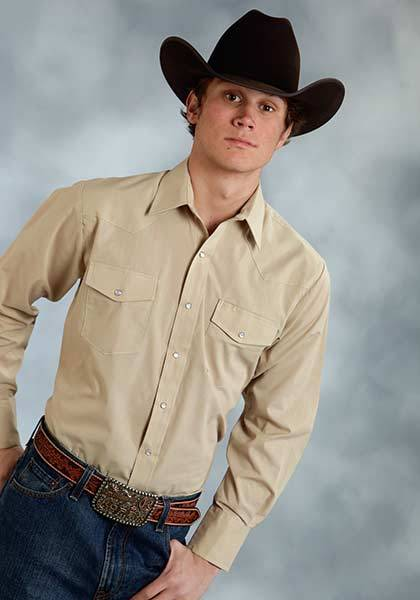 Roper Long Sleeve Solid Broadcloth Western Shirt - Mens - Khaki