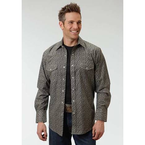 Roper Long Sleeve Ditzy Floral Print Western Shirt - Mens - Black