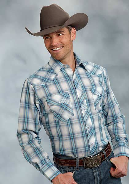 Roper Long Sleeve Plaid Western Shirt - Mens - Blue