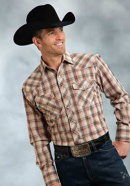 Roper Long Sleeve Snap Front Western Plaid Shirt - Mens - Brown Navy