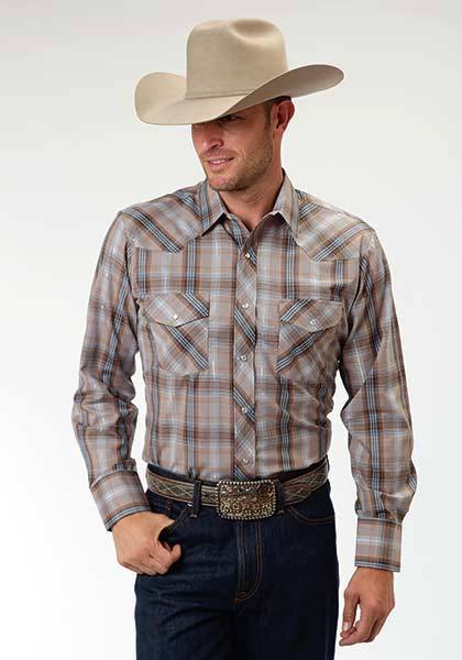 Roper Long Sleeve Snap Woven Western Plaid Shirt - Mens - Brown Blue