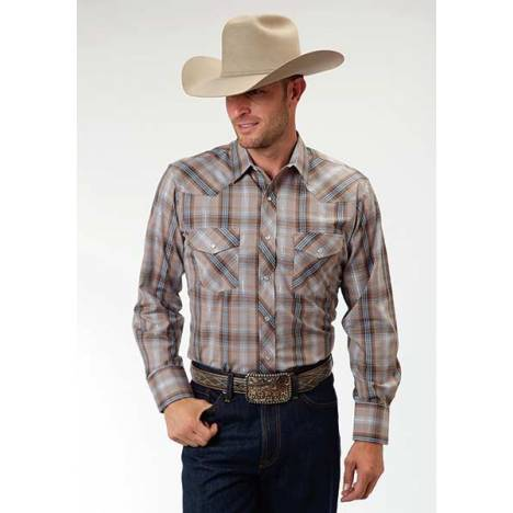 Roper Tall Long Sleeve Snap Woven Plaid Western Shirt - Mens - Brown Blue