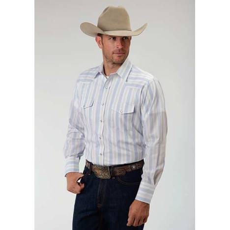 Roper Long Sleeve Stripe Snap Western Shirt - Mens - Blue White