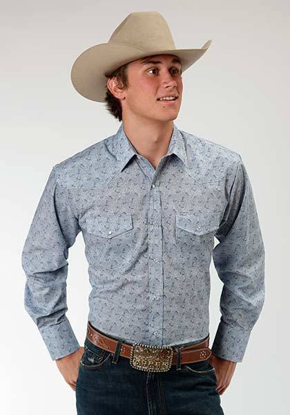 Roper Long Sleeve Tiny Floral Print Western Shirt - Mens - Blue