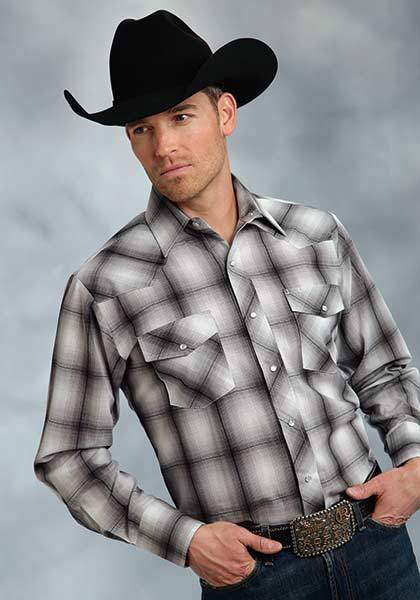 Roper Tall Long Sleeve Tonal Plaid Western Shirt - Mens - Grey