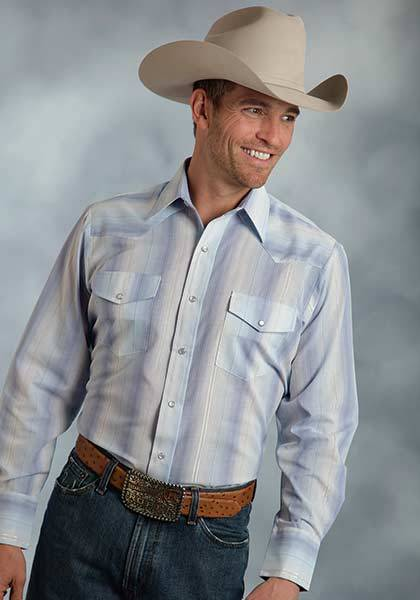 Roper Long Sleeve Tonal Stripe With Lurex Western Shirt - Mens - Blue Silver