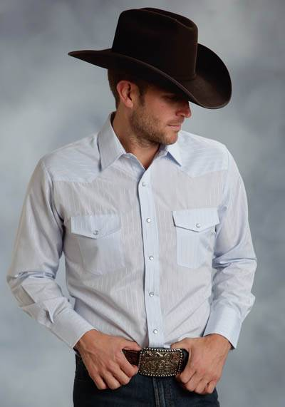 Roper Tall Long Sleeve Solid Tone On Tone Stripes Snap Shirt - Mens - Blue