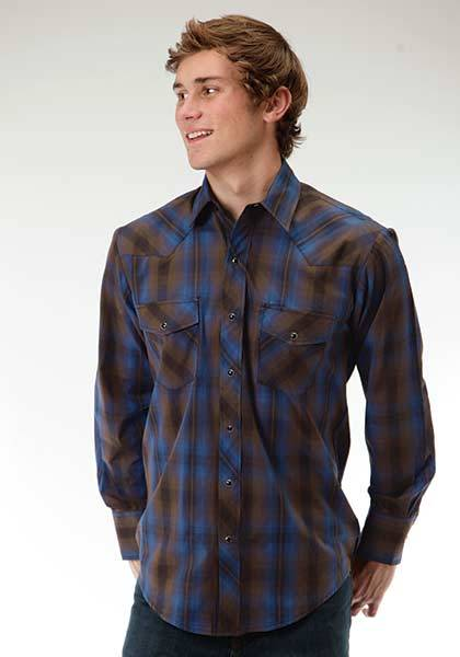 Roper Long Sleeve Two Pocket Plaid Western Shirt - Mens - Ombre Blue