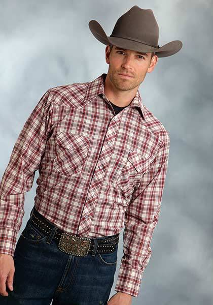 Roper Long Sleeve Western Plaid Shirt - Mens With Lurex - Cream Red Gold