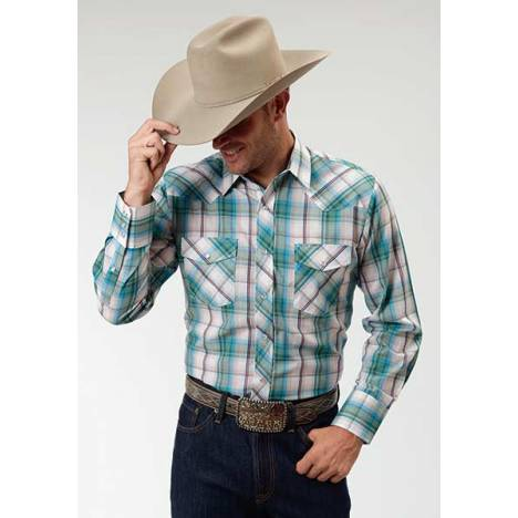 Roper Long Sleeve Western Plaid Shirt - Mens - White Turquoise