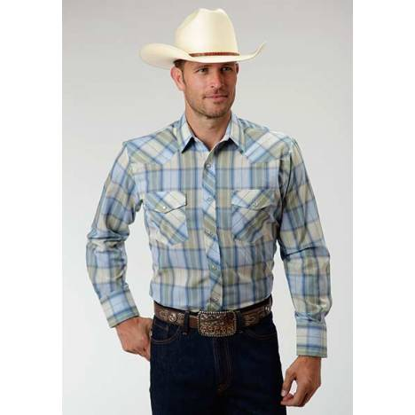 Roper Long Sleeve Western Snap Plaid Shirt - Mens - Moss Green